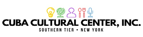 """Logo reading """"Cuba Cultural Center, Inc. Southern Tier, New York"""" with small colored icons of a lightbulb, globe, person, spoon and fork, and microphone"""